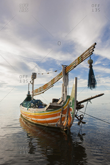 Moored fishing boat in front of Lovina beach, Bali, Indonesia