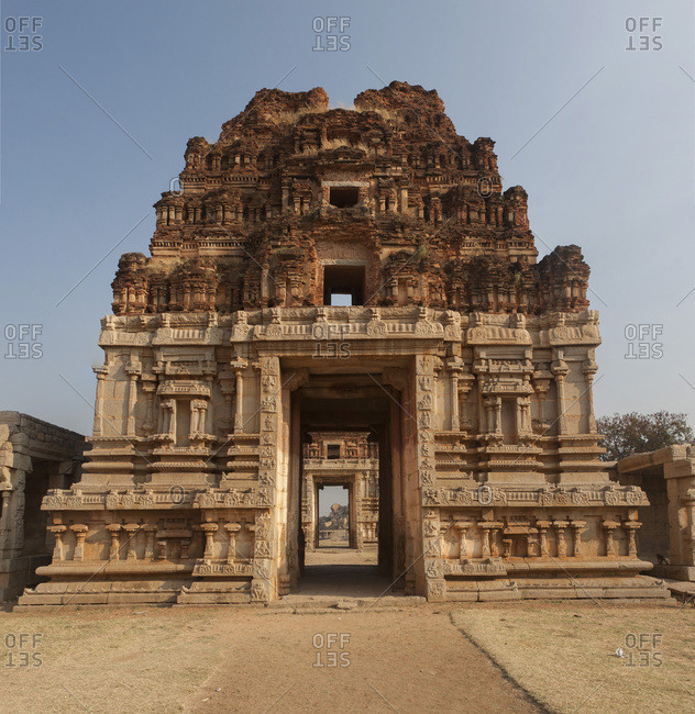 Gate of Achyutaraya Temple in Hampi, former capital of Vijayanagara Kingdom, UNESCO World Heritage Site, Karnataka, India