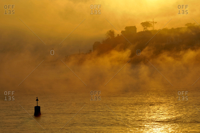 France, Basque country, Pyrenees Atlantiques department, city of Ciboure, bay of Saint-Jean-de-Luz seen from Socoa in the mist at sunrise in winter.