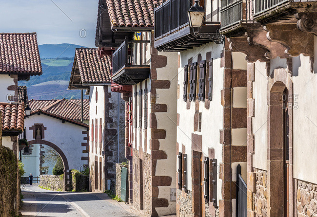 Spain, Navarre, Baztan valley, Amaiur, line of traditional country houses in the main street (Way of Saint James)