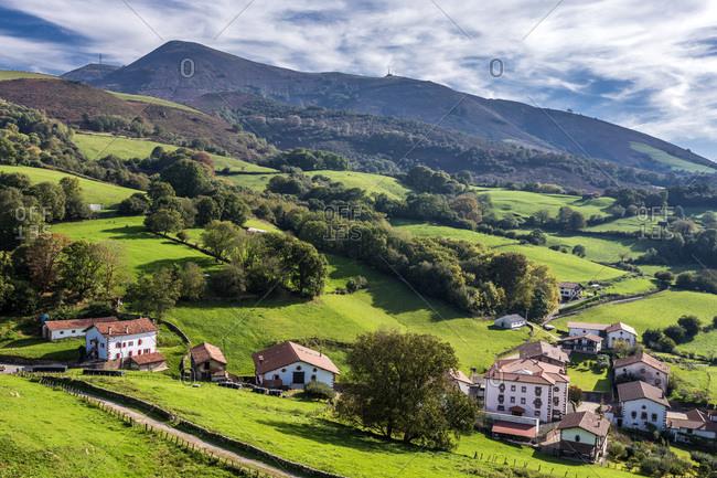 Spain, Navarre, Baztan valley, Amaiur, farmhouses on the periphery of the village (Way of Saint James)