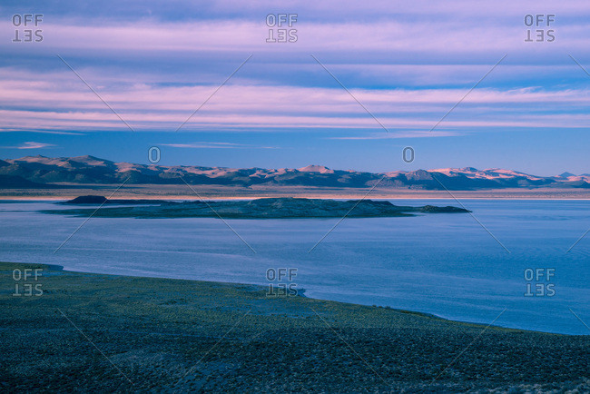 USA, California, Mono Lake from Panum Crater at sunset
