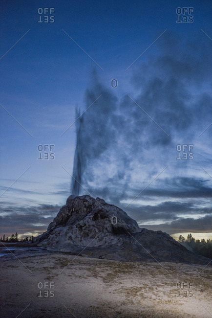 USA, Wyoming, Yellowstone National Park, White Dome Geyser erupting