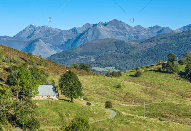 France, Pyrenees National Park, Occitanie region, Val d'Azun, road of the col de Couraduque (mountain pass), mountain pasture meadows, Pan ridge and Pic d'Arrouy in the background (1,522 meters)