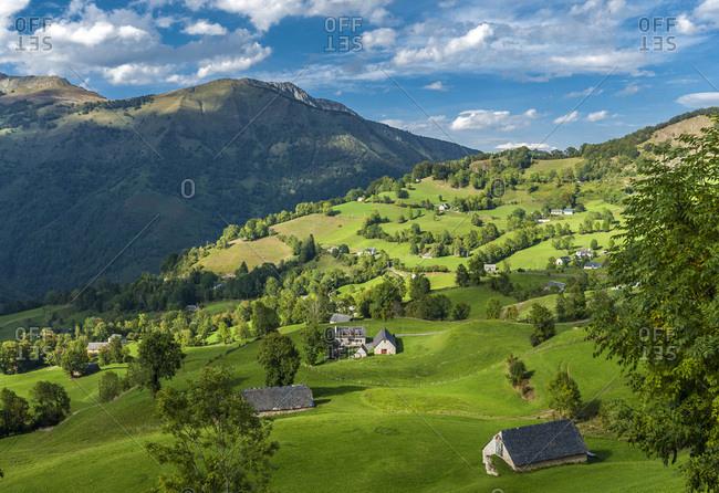 France, Pyrenees National Park, Occitanie region, Val d'Azun, Ouzoum valley near Arbeost, barns