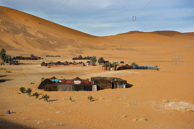 Berber tents in the dunes of Merzouga in Morocco