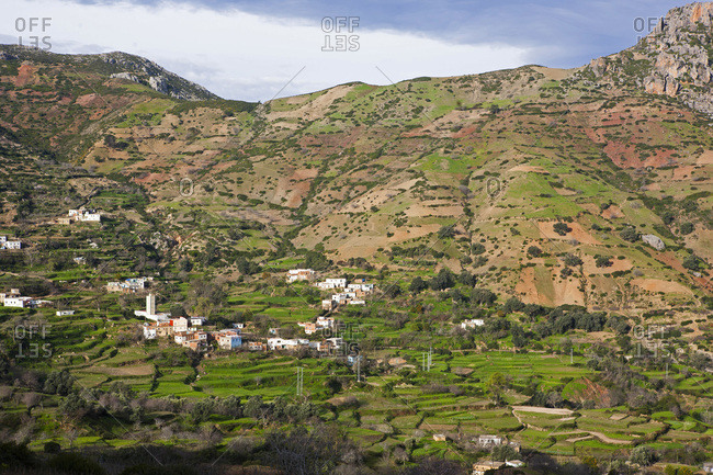 Landscape of the Moroccan rif mountains between the villages of Akchour and Talembote, famous for its cannabis production, Morocco