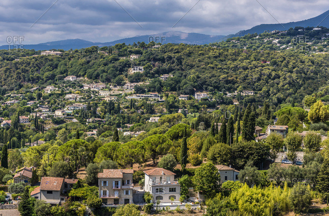 France, Provence-Alpes-Cote-d'Azur, Alpes-Maritimes, overall view of Saint-Paul-de-Vence (Plus Beaux Villages de France, list of villages designated as les plus beaux (the most beautiful) in France)