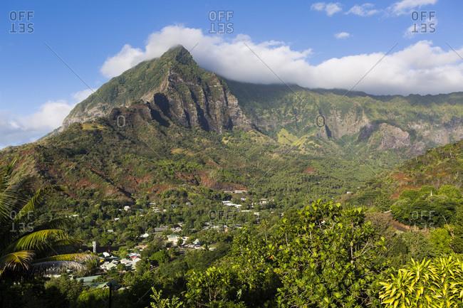 Temetiu Summit and Atuona Village, Hiva Oa, Marquesas Islands, French Polynesia