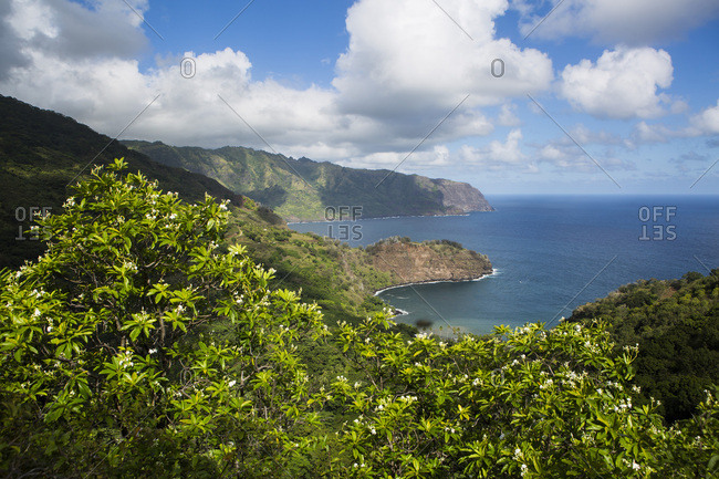 North coast of Hiva Oa Island and Matanau Bay, Marquesas Islands, French Polynesia