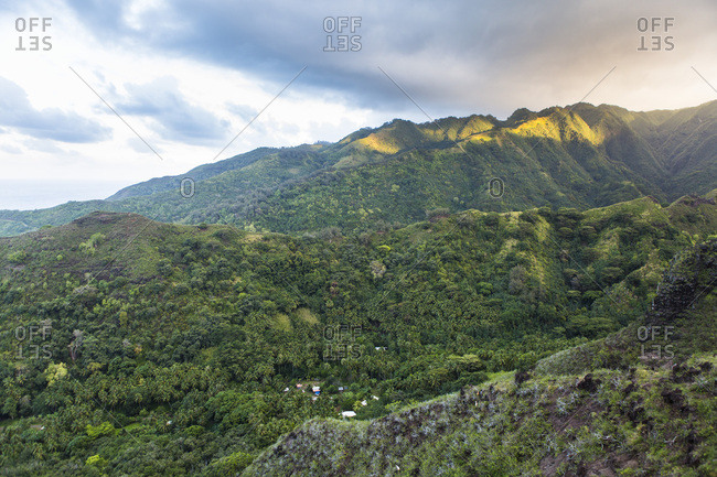 Mountains and Motuua Valley at dusk, Hiva Oa Island, Marquesas Islands, French Polynesia