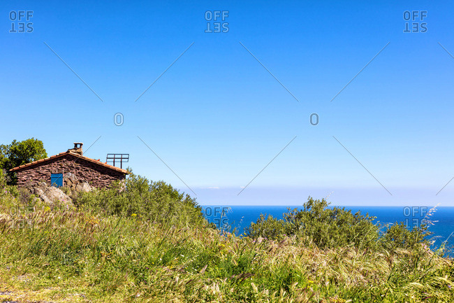 Stone house on the coast of Vermeille, Pyrenees-Orientales, Catalonia, Languedoc-Roussillon, France