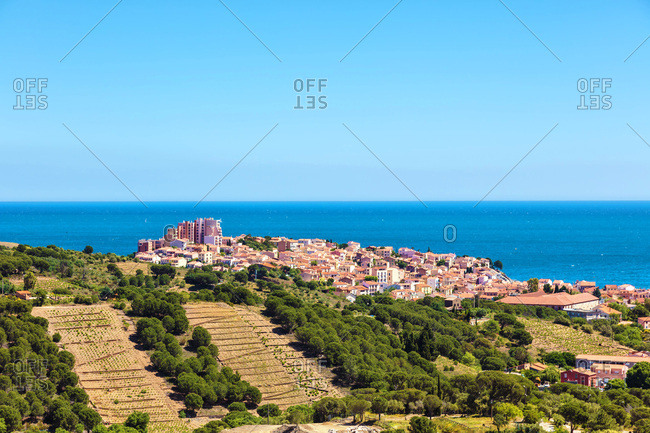 City of Banyuls seen from the coast of Vermeille, Pyrenees-Orientales, Catalonia, Languedoc-Roussillon, France