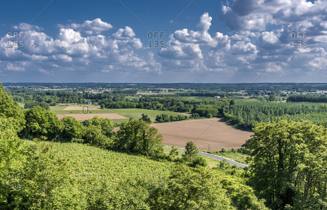 France, Gironde, Sainte-Croix-du-Mont, countryside of the Garonne valley seen from Tastes castle