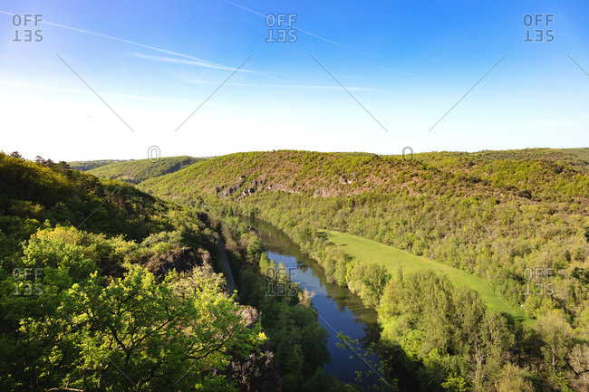 View of the river Tarn and Bruniquel forest, Tarn, Midi-Pyrenees, Occitanie, France
