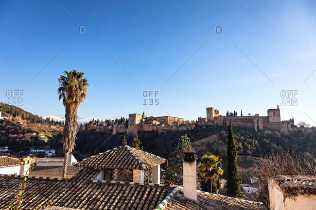 View of the Alhambra Castle, Granada, Province of Granada, Andalusia, Spain, Western Europe