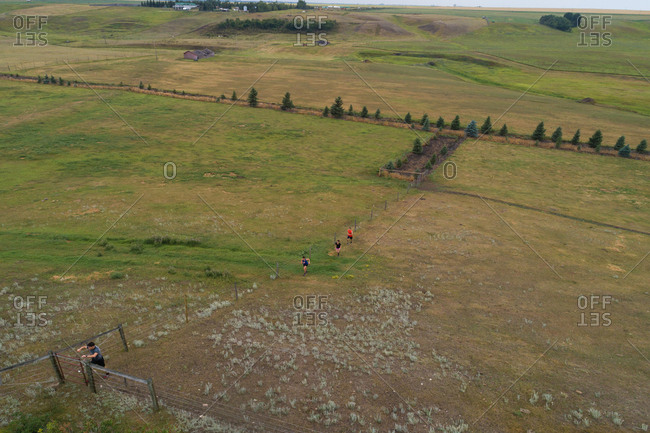 High angle view of group of people exercising on field