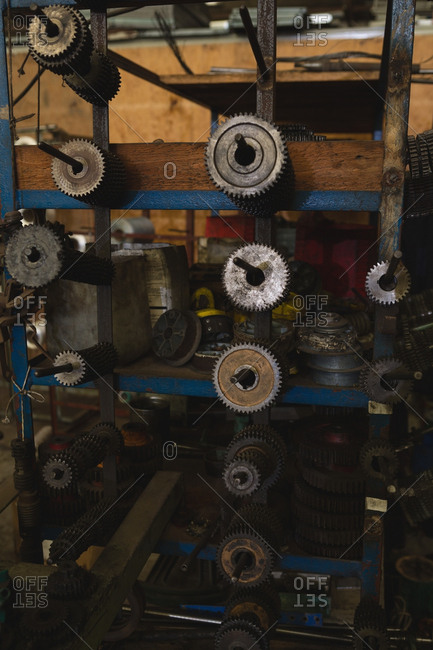 Close-up of machine parts in rope making industry