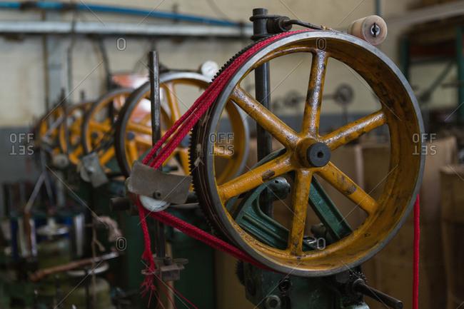 Close-up of loop machine in rope making industry