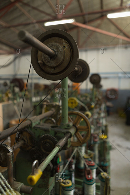Close-up of loop machine in rope making industry