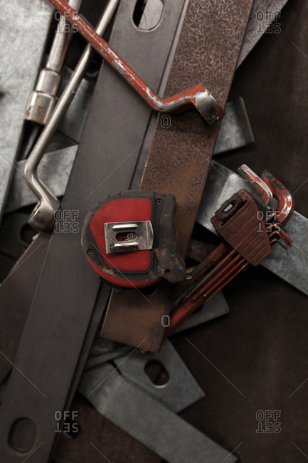 Close-up of blacksmith tools and equipment in workshop