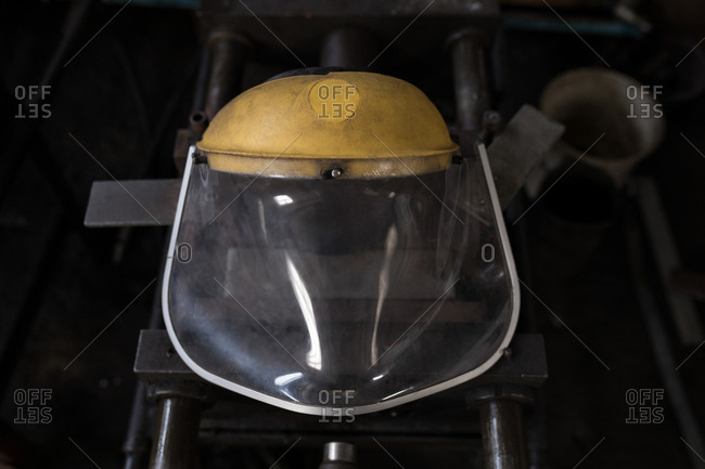 Close-up of protective helmet in workshop