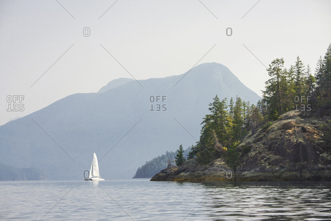Sailing in the Strait of Georgia, near Powell River, British Columbia