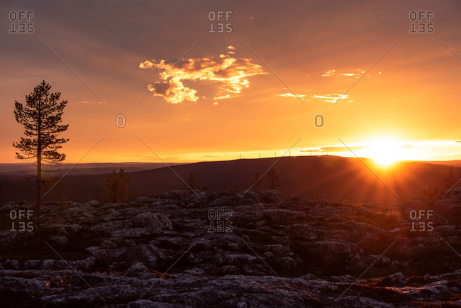 Sunset over rural Lapland, Finland
