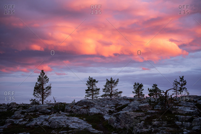 Sunset sky over rural Lapland, Finland