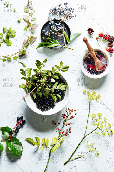 Berries and herbs on white textured background