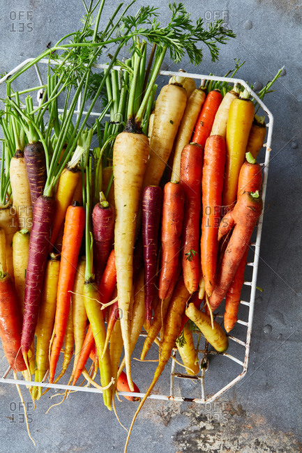 Rainbow carrots in a basket