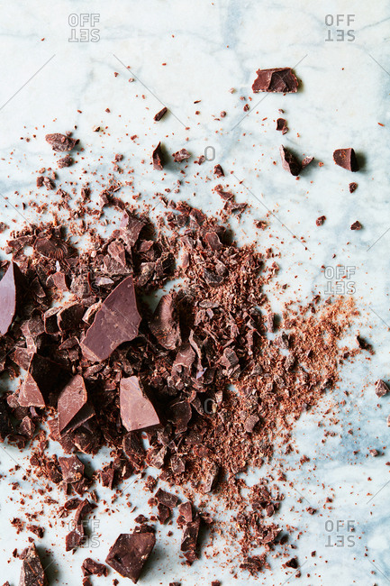 Crushed chocolate on marble