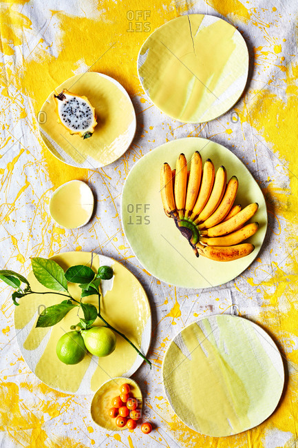 Elephant ceramics plate shot with yellow fruit