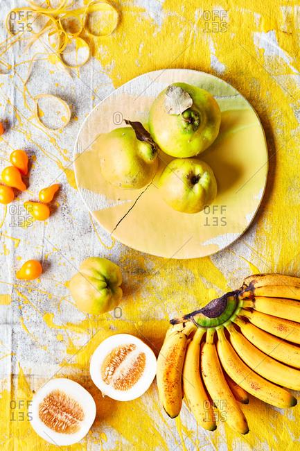 Yellow fruit on elephant ceramics