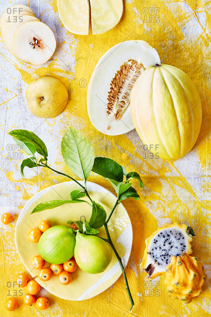 Yellow fruit on bright background