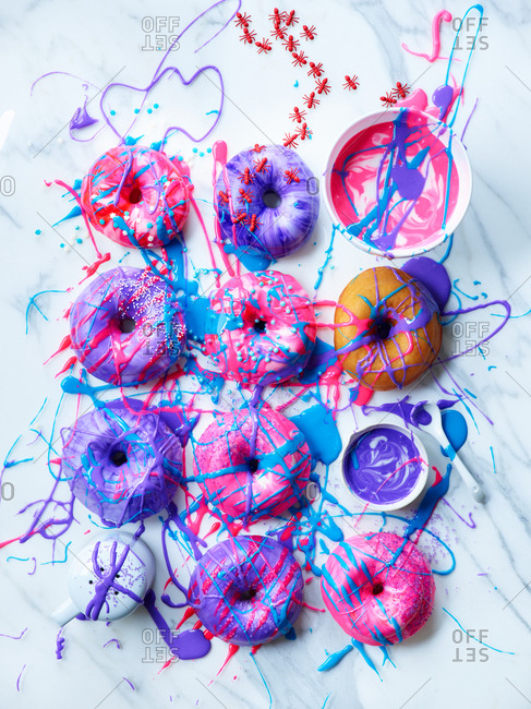 Colorful messy doughnuts