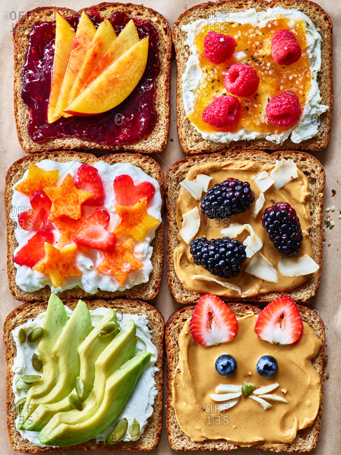 Decorative toast with fruit