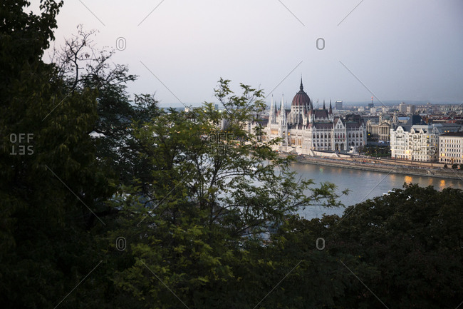 Landscape of the Hungarian Parliament in Budapest, Hungary
