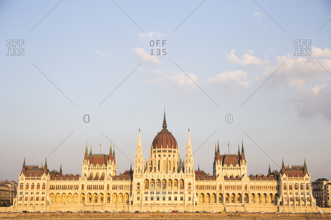 Hungarian Parliament at sunset in Budapest, Hungary