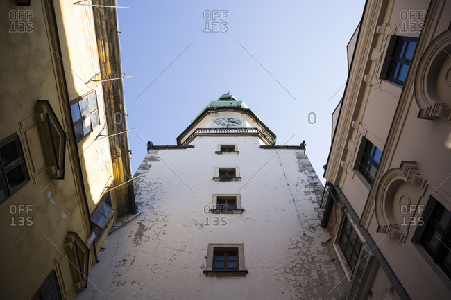 Low angle view of St. Michaels Gate of Bratislava, Slovakia