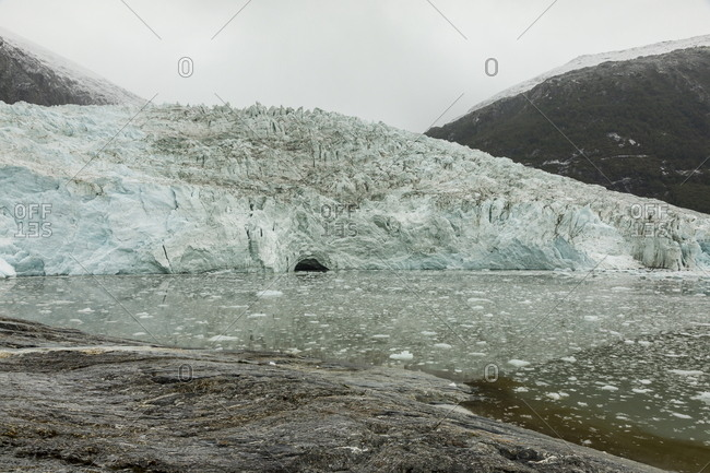Scenic view of coastal glacier