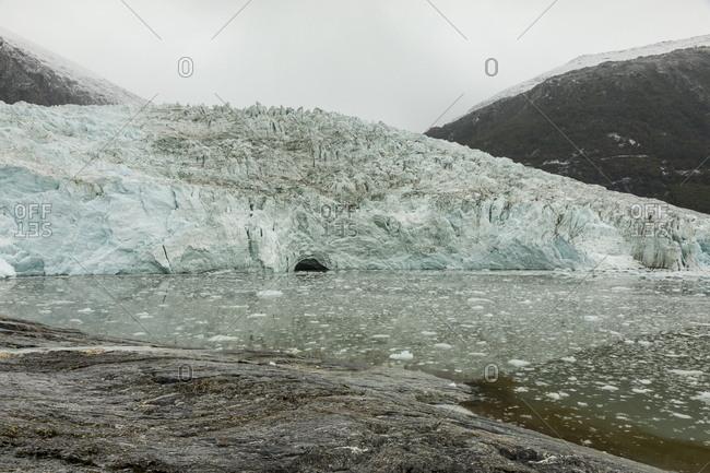 Scenic view of coastal glacier