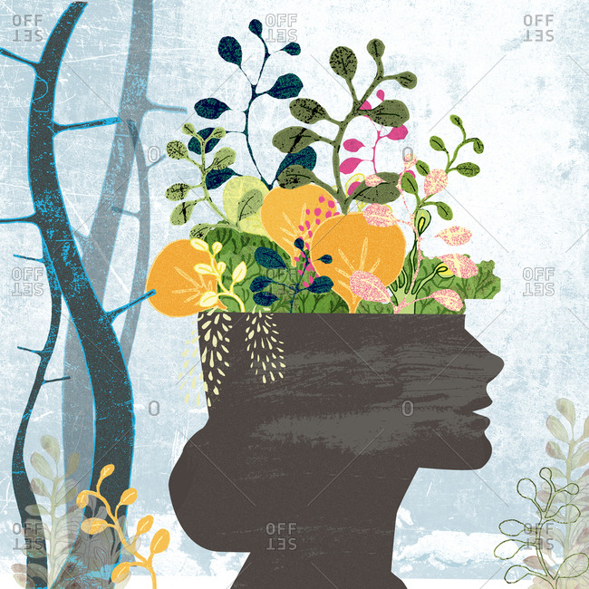Environmentally conscious life, woman's female silhouette with plants
