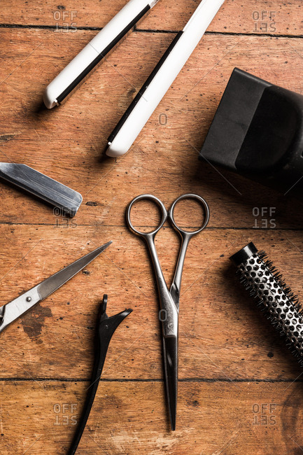 Overhead view of hair styling tools and equipment