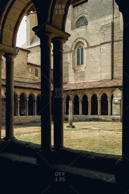 Collegial church patio with arcades and corridors at Saint-�milion, France