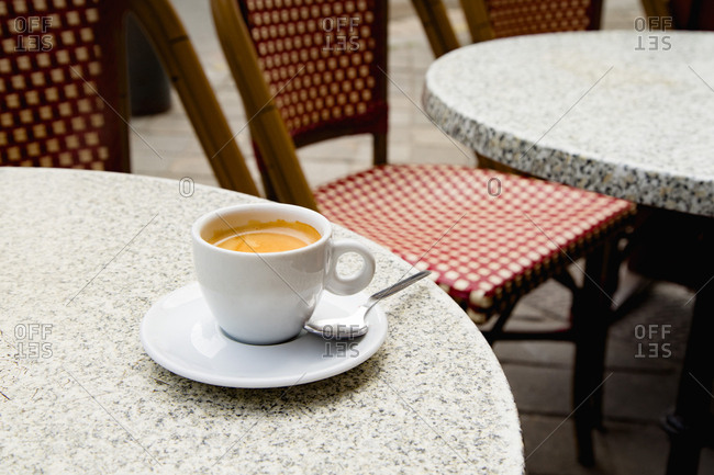 Cup of coffee at classical french street cafe