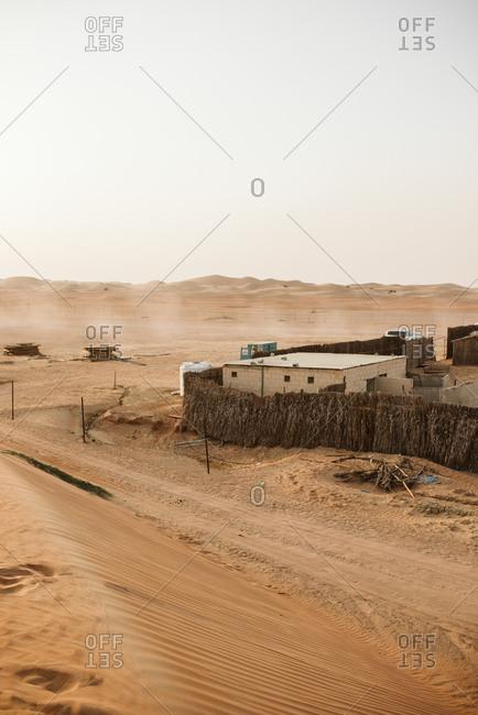 Small village in desert in Dubai