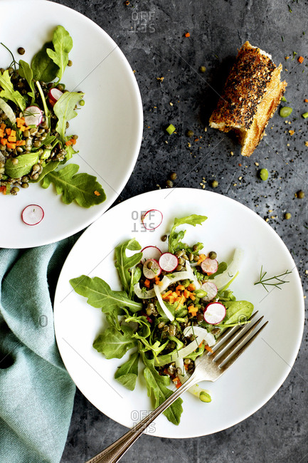 Two plates with green lentil arugula salad
