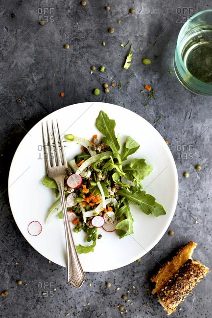 Freshly made green lentil arugula salad