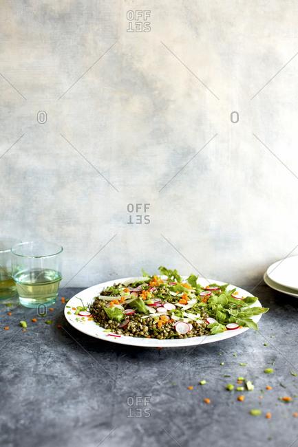 Green lentil arugula salad